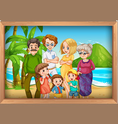 family photo on vacation background vector image