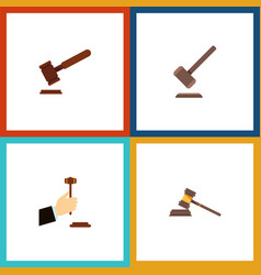 Flat icon court set of court law tribunal and vector