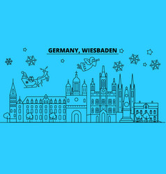 germany wiesbaden city winter holidays skyline vector image