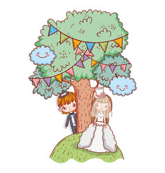 girl and boy marriage with trees and party flags vector image
