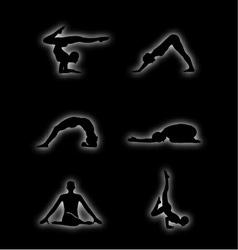 Glowing figures of yoga pose vector