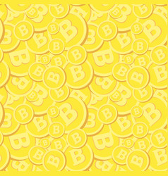 golden seamless pattern with bitcoins realistic vector image