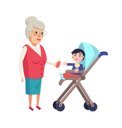 grandmother giving bottle with pacifier to toddler vector image