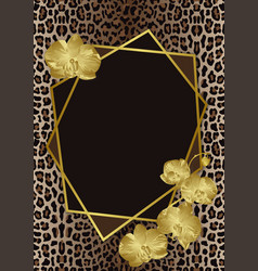 Greeting card with leopard print gold orchids and vector