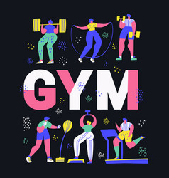 gym fitness center hand drawn word concept banner vector image