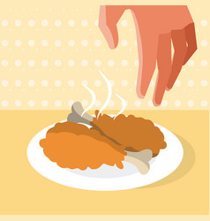 Hand grabbing fried chicken vector