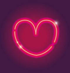 Heart neon sign icon decoration design vector