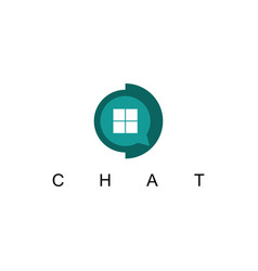 house chat technology logo vector image