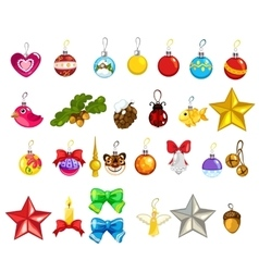 Large set of Christmas tree decorations vector