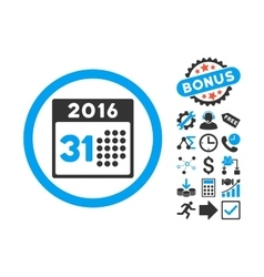 Last 2016 Month Day Flat Icon with Bonus vector image