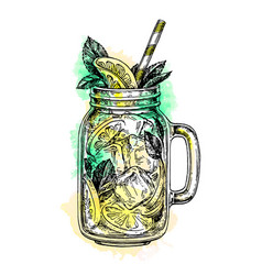 Lemonade in mason jar vector
