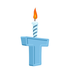 Letter t birthday font letter and candle vector