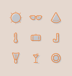 line icon summer set vector image