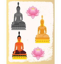 Lotus Flower and Buddha vector image