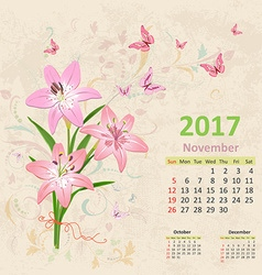 lovely bouquet of pink lilies on grunge background vector image