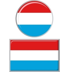 Luxembourg round and square icon flag vector