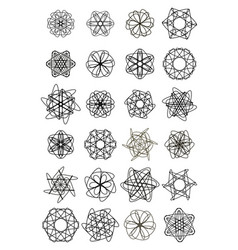 mega set of small circle lace design elements vector image