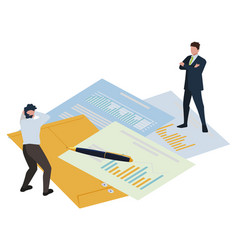 Mini business people manila envelope and office vector