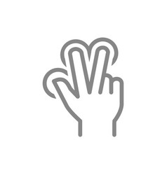 multitouch for three fingers line icon touch vector image