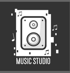 music studio black and white logotype vector image