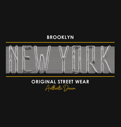 New york t-shirt design with slogan from 3d line vector
