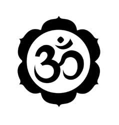 Om or Aum sign in mandala round shape isolated vector
