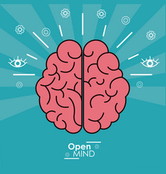 open mind human brain concept design vector image