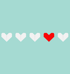 origami paper heart icon set white and red color vector image