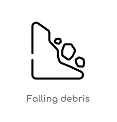 Outline falling debris icon isolated black simple vector