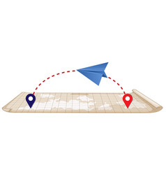 Paper plane and map vector