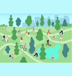 people in summer park city green garden men vector image