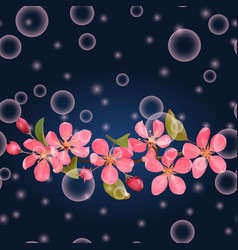 pink blossoming cherry on dark blue seamless vector image