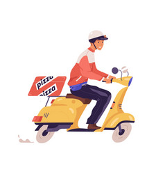 pizza deliveryman ride on scooter flat vector image