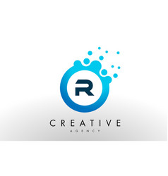 R letter logo blue dots bubble design vector