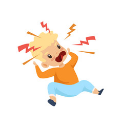 Raging boy shouting cute naughty kid bad child vector