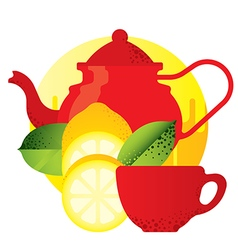 red kettle and teacup yellow lemon vector image