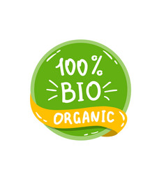 round green label with text bio organic vector image