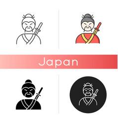 samurai icon asian martial arts fighter vector image