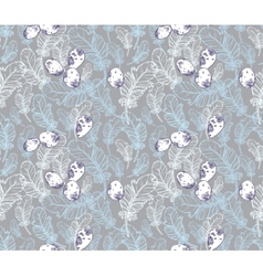 Seamless Pattern with Feathers and Eggs vector image