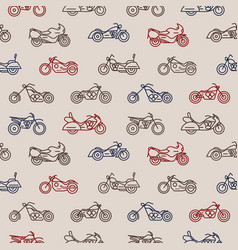 seamless pattern with motorcycles of different vector image