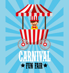 Sellerman food booth retro carnival fun fair vector