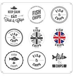 Set fish and chips labels and badges vector