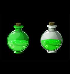 Set green magic potion or poison in bottles vector