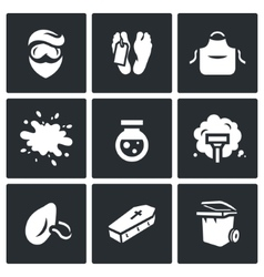 Set of Cleaning after the murder Icons Man vector