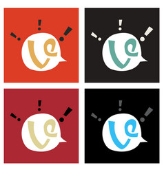 Set of vine icon in thinking cloud vector