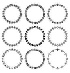 Set round frames with a graphic floral pattern vector