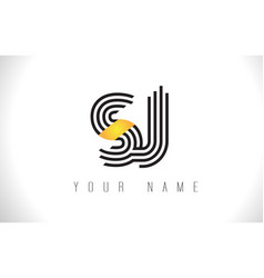 sj black lines letter logo creative line letters vector image