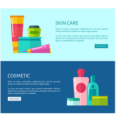 Skincare cosmetic promotional internet banners vector
