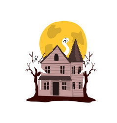 Spooky haunted castle and full moon vector