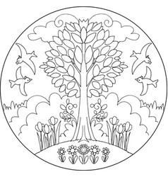 spring tree mandala vector image